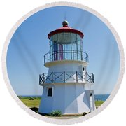 Cape Mendocino Lighthouse Round Beach Towel