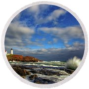 Cape Neddick Lighthouse Round Beach Towel