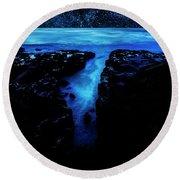 Cape Perpetua Blue Night Round Beach Towel