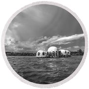 Cape Romano Bw Round Beach Towel