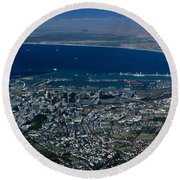 Capetown South Africa Aerial Round Beach Towel