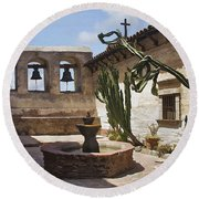 Capistrano Mission Courtyard Round Beach Towel
