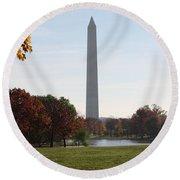 Capital Autumns - The Washington Monument - Under The Trees Round Beach Towel