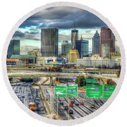 Capital Of The South Atlanta Skyline Cityscape Art Round Beach Towel