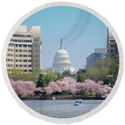 Capitol Blossoms Round Beach Towel