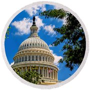 Capitol Of The United States Round Beach Towel
