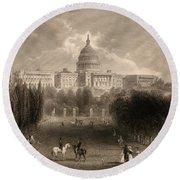 Capitol Of The Unites States, Washington D C Round Beach Towel