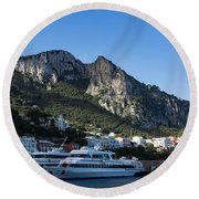 Capri Island Harbor  Round Beach Towel