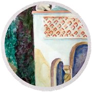 Capri Sphinx Round Beach Towel