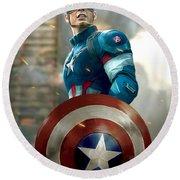 Captain America With Helmet Round Beach Towel