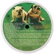 Captain And Tennille Greatest Hits Lp Label Round Beach Towel