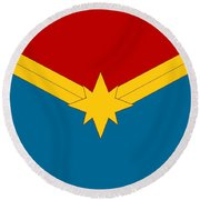 Captain Marvel Logo Round Beach Towel