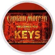 Captain Morgan Welcome Florida Keys Round Beach Towel
