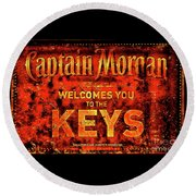 Captain Morgan The Florida Keys Round Beach Towel