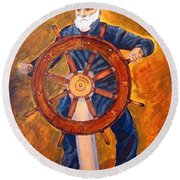 Captian Of The Dawn Round Beach Towel