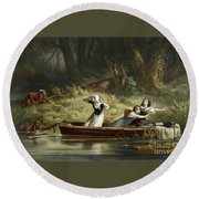 Capture Of The Daughters Of Daniel Boone And Richard Callaway By The Indians Round Beach Towel