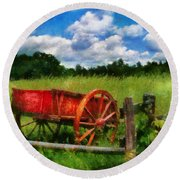 Car - Wagon - The Old Wagon Cart Round Beach Towel