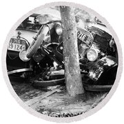 Car Accident, C1919 Round Beach Towel