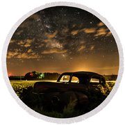 Car And The Milky Way Round Beach Towel