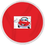 Car Round Beach Towel