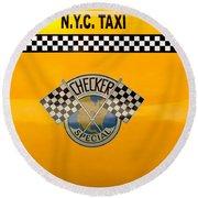 Car - City - Nyc Taxi Round Beach Towel
