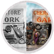 Car - Garage - Cherokee Parts Store - 1936 - Side By Side Round Beach Towel