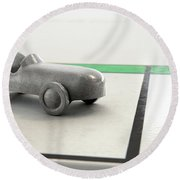 Car Icon On A Boardgame Round Beach Towel
