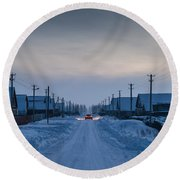 The Road Away From Here Round Beach Towel