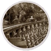 Car On A Wooden Railroad Trestle Circa 1916 Round Beach Towel