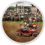 Car - Race - On The Edge Of Their Seats 1915 Round Beach Towel