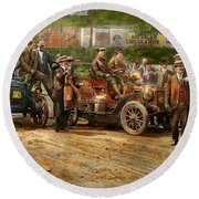 Car - Race - The End Of A Long Journey 1906 Round Beach Towel