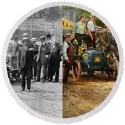 Car - Race - The End Of A Long Journey 1906 - Side By Side Round Beach Towel