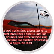 Car Reflection With Text 4 Round Beach Towel