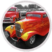 Car Show Fever - 54 Chevy With A 32 Ford Coupe Hot Rod Round Beach Towel