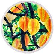 Carambolas Starfruits Round Beach Towel