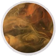 Caramel Cream  Round Beach Towel