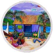 Cara's Island Time Round Beach Towel by Patti Schermerhorn