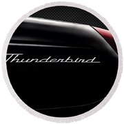 Carbon Black Thunder Round Beach Towel