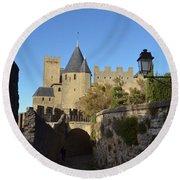 Carcassonne Castle Round Beach Towel