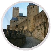 Carcassonne Castle Round Beach Towel