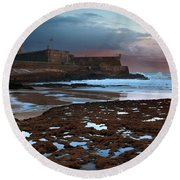 Fort In Carcavelos Beach Round Beach Towel