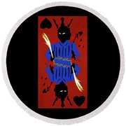 Card Hierarchy Jack Of Hearts Round Beach Towel