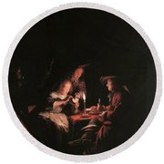 Card Players At Candlelight Round Beach Towel