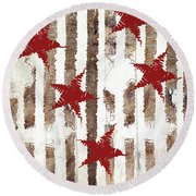 Cardinal Holiday Burlap Star Pattern Round Beach Towel