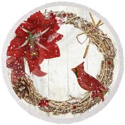Cardinal Holiday II Round Beach Towel