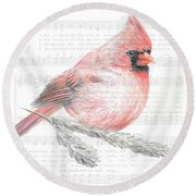 Cardinal On Joy To The World Round Beach Towel