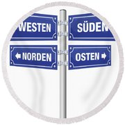 Cardinal Points Signpost German Round Beach Towel