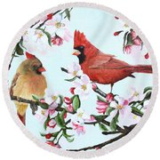 Cardinals And Apple Blossoms Round Beach Towel
