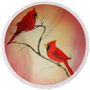 Cardinals At Sunset Round Beach Towel