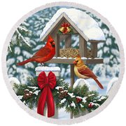 Cardinals Christmas Feast Round Beach Towel by Crista Forest